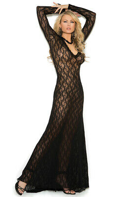 Elegant Moments long sleeve lace black gown