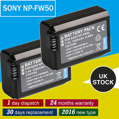 2x NP-FW50 Rechargeable Battery for Sony A55 NEX-7 NEX-5C NEX-5 FAST Delivery