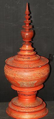 LACQUERWARE Burma offering temple alter bowl container OLD VINTAGE cinnabar red