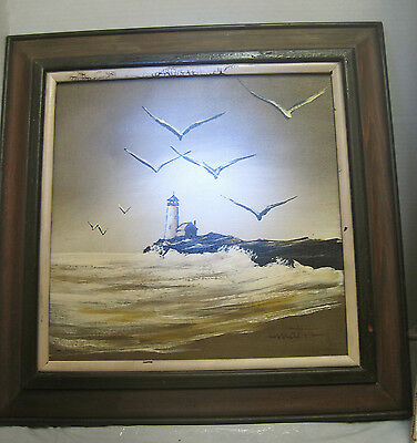 Matson lighthouse and gull painting