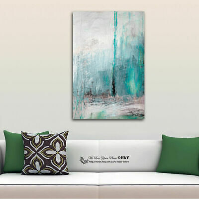 Turquoise Abstract Stretched Canvas Print Framed Wall Art Decor Painting Gift