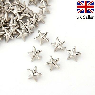 100 x Silver Metal Rock Star Shaped Stars Punk Studs Rivets Leathercraft 10mm