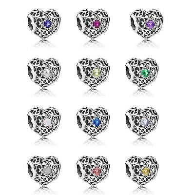 Genuine Silver Signature Heart Birthstone Silver Charm. All months S925