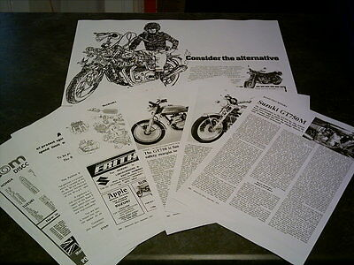 Suzuki GT750 Triple Sales Ads & Road Tests Facsimile On 13 Sheets 1974/5