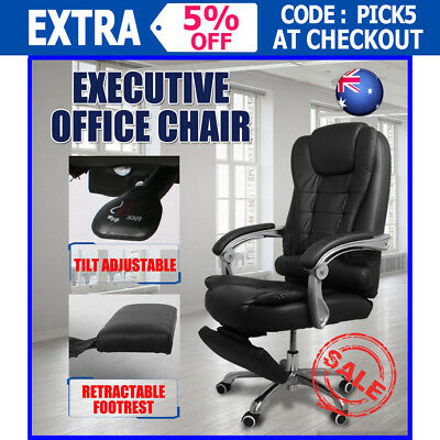 2017 Adjustable Executive Office Chair PU Leather Seat Recliner 360°Swivel 200kg