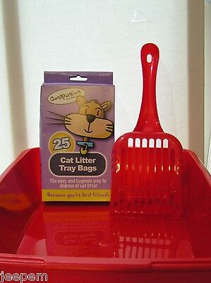 Cat Rabbit Small Pet Litter Tray Starter Set Toilet Scoop Liners 4 Colours 42cm