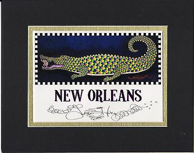 ALLIGATOR RIDING PINK GUITAR Jamie Hayes NEW ORLEANS MUSIC POSTER Signed