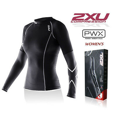 Womens Gym Workout 2XU Compression T-Shirt Tight Long Sleeves Top Sport Jogging
