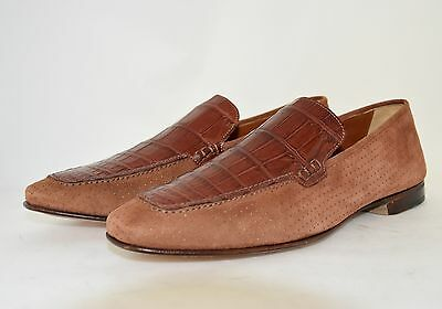 MAN-42-8eu-MOCASSIN-LOAFER-GENUINE TAN ALLIGATOR & SUEDE- LEATHER SOLE