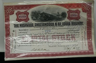 Nashville CHATTANOOGA ST LOUIS Railroad Co. Stock Certificate Specimen 10 1937