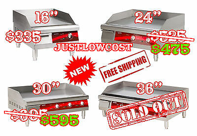 """16"""" 24"""" 30"""" Commercial Stainless Electric Countertop Flat Grill Burner Griddle"""