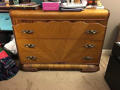 Art Deco Waterfall 1930's Vintage 3 Pc. Bedroom Set, Full Size Bed