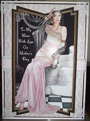 Handmade Art Deco personalised mothers mother's day card a classic lady in pink