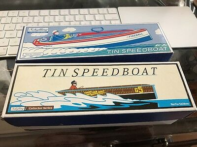 Lot Of 2 Collectible Tin Speedboat Thunderbolt G5 & Fireball  1996 Limited Ed