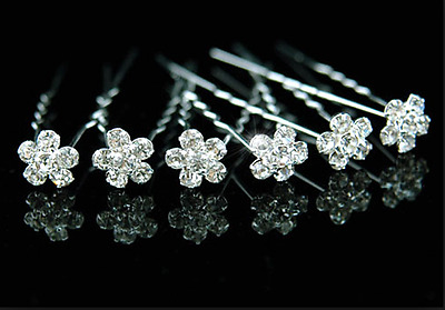 Rhinestone Crystal Diamante Flower Hair Pins Weddings Bridal Party Gifts