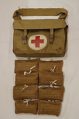 WW2 British Army Medical Shell Dressing Bag with 8 Dressings 1941