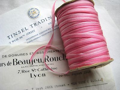 """Vintage French Dark Pink Ombre Rayon Ribbon Flowers  3/16""""  3 yards Ribbonwork"""