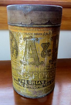 Original early 1900's A&P Baking Powder Tin w/Embossed Lid nice graphics