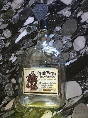 Empty Captain Morgan Private Stock Rum Bottle Decanter with Cap 1.75L
