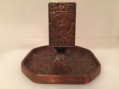 Tiffany Studios Ny Bronze Zodiac Match Holder Safe Cigarette Ashtray, No. 1041