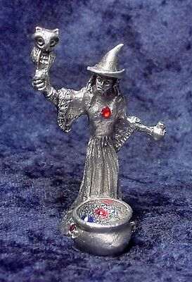 Pewter WITCH with Cauldron & Owl - CRYSTALS - Satin Finish