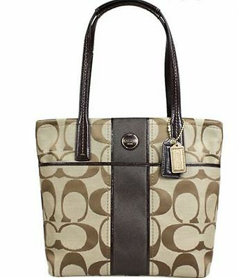 adaefc98208e COACH SIGNATURE STRIPE Tote Khaki Mahogany Shoulder Bag F25771 - Free  Shipping!