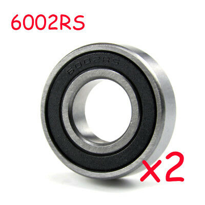 2pcs 15mm x 32mm x 9mm 6002RS Rubber Sealed Radial Ball Bearing High Speed