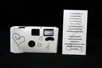 White Silver Heart 27exp Disposable Camera Wedding Bomboniere Favour Flash/Card