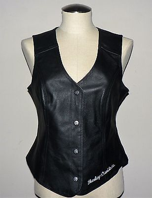 Women' Harley-Davidson PATCHES AND PINS Leather Vest (98197-11VW) size M
