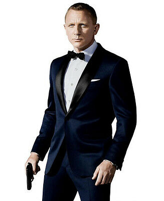 Navy Blue Men Formal Suits Custom Made Jacket+Pants Groom Tuxedos Business Suit