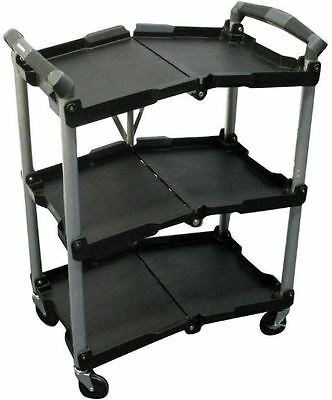 Rolling 4-Wheeled 3-Shelf Multipurpose Utility Cart Portable Foldable Storage