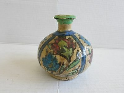 Old Vintage Persian Middle Eastern Glazed Pottery Small Vase