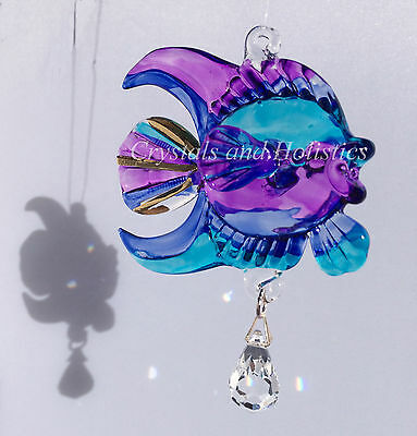 Hand Crafted PURPLE Fantasy Glass & Crystal CORAL FISH Rainbow Maker Suncatcher