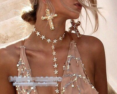 Boho Festival Stars Crystal Rhinestone Cleavage Lariat Choker Necklace Uk Seller