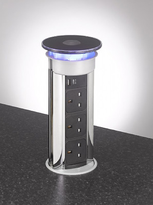 Flush Fit 3-Gang Kitchen Pop Up Socket USB/LED, All-Black Top Bright Chrome Body