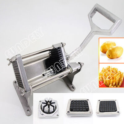 Manual Potato Chipper Vegetable Cutter - Bench or Wall Mountable - 4 Blades NEW