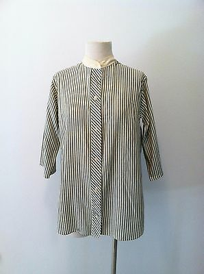 vintage 1960s top striped button front high neck blouse striped long sleeve top
