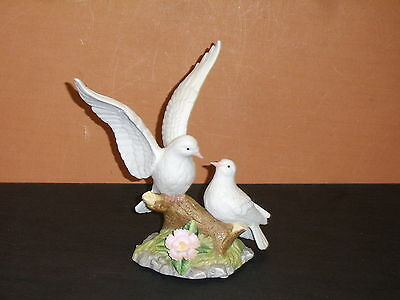 Two Doves on Branch Porcelain Figurine by La Vie The Abbey Collection