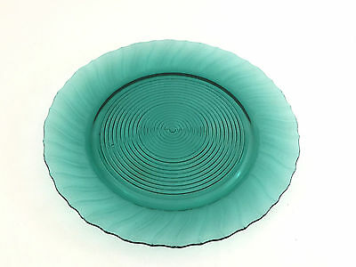 SWIRL, Petal Swirl ultra-marine glass sandwich plate, Jeannette Glass Co. c.1937