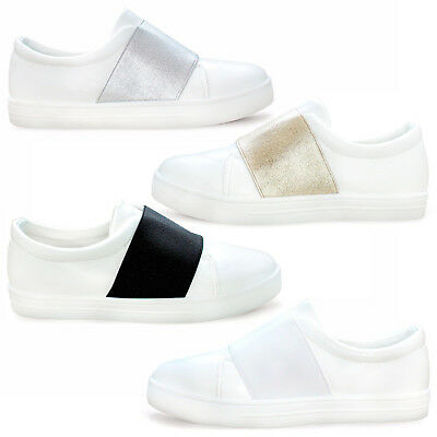 Ladies Flat Slip On Plimsolls Pumps Womens Canvas Girls Trainers Shoes Size Band