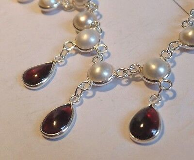 Sterling Silver, Cultured Freshwater Pearl & Garnet Necklace