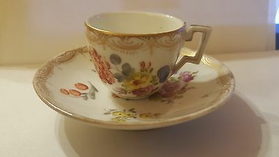 19th Century Dresden Demitasse Minature Cup and Saucer