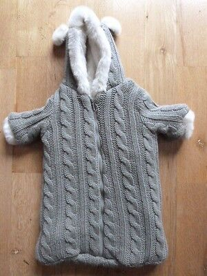Restoration Hardware Knit Baby Bunting Winter Outerwear Faux Fur Gray White