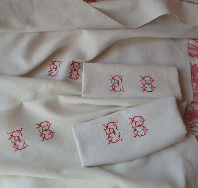 "Pair of 19th century pure linen red EB monogrammed torchons or towels 32"" x 27"""