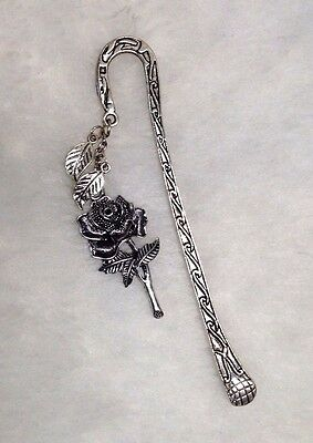 Bookmark - Metal Hook in Antiqued Silver-tone with Rose Charm and Leaf Drop  #24