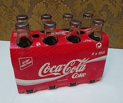 1997 Coca Cola Vintage Full Unopened Glass Bottle Eight Pack French 8 x 250ml