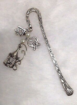 Bookmark - Metal Hook in Antiqued Silver-tone with Bird & Bird Cage Charms  #25