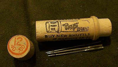(1)  # 12 Antique Boye Sewing Machine (3) Needle Set in wood tube  #12 40 - 100