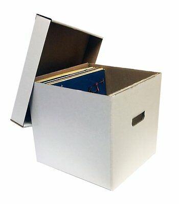 "1 12"" Record Album Storage Box with Removable Lid - Holds Up to 65 Vinyl Records"