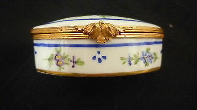 Antique Sevres/Limoges French Porcelain & Gilt Pill Box, Hand Painted- MARKED